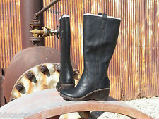 New Womens UGG Hartley Black Leather Western Style Wedge Boots US 7 UK 5.5 EU 38