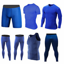 BLUE Sports Compression Base Layers Tops Tight Tank T-Shirts Vests Pants Shorts