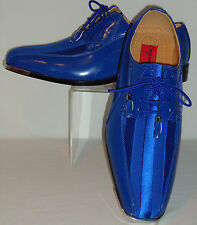Mens Royal Blue Elegance Satin Stripe Silvertip Tux Dress Shoes Expressions 4925