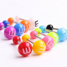 14G Cute Surgical Steel Acrylic Ball Barbell Bar Tongue Ring Stud Piercing Pin