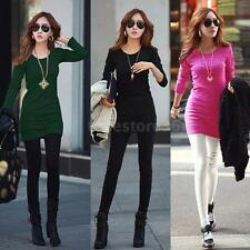 Women Long T-shirt O-Neck Lady Long Sleeves Tops Shirt Bodycon Mini Dress F2T7