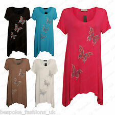 Ladies Womens Beaded X3 Butterfly Short Sleeve Hanky Hem Top Dress Plus 14-28