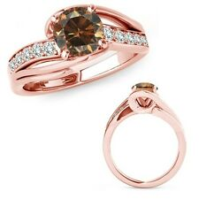 1 Carat Champagne Color Diamond By Pass Solitaire Halo Fancy Ring 14K Rose Gold
