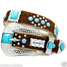 76. BHW Cowgirl Western Brown Brindle Turquoise Hair Hide Leather Concho Belt