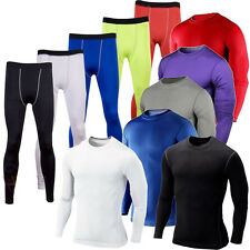 Mens Compression Armour Base Layer Gear Top Thermal Skins Shirt Leggings Pants