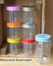 50 Plastic Mason Jars with Daisy Lids, 17oz or 8oz Drinking Jar Cups Made in USA