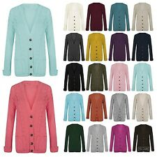 Womens Ladies Chunky Cable Knit Cardigan Button Long Sleeves Cardigan Size 8-26