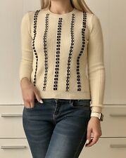RED VALENTINO WHITE IVORY BLACK FLOWERS KNITTED WOMEN SWEATER TOP XS