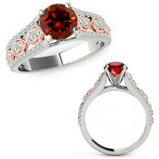 1 Ct Red Diamond Lovely Solitaire Halo Wedding Fancy Ring Band 14K Two Tone Gold