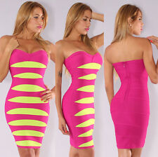 Womens New Sexy Pink Lime Strapless Bandage Dress Bodycon Hot Sexy New Celeb
