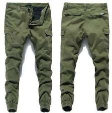 Fashion Mens Baggy Slim Skinny Casual Cargo Mid-rised Pants Pencil Trousers Size