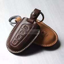 4Button Stitched Smart Key Leather Case Cover Holder Pouch BRON-3 for HYUNDAI