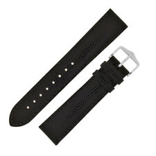 Hirsch RAINBOW Lizard Embossed Leather Watch Strap and Buckle in BLACK