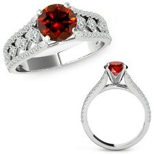 1.5 Carat Red Diamond Beautiful Solitaire Halo Wedding Ring Band 14K White Gold