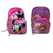 "New Girls 16"" Disney Minnie Mouse Elsa & Anna Frozen Backpack & Lunch Bag Set"