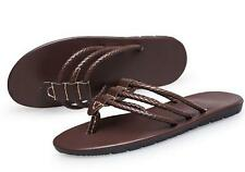mens Gladiator faux leather strap Beach sandals slip on Flip Flops shoes new