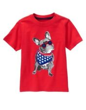 GYMBOREE STAR SPANGLED SUMMER RED w/ 4th OF JULY BULLDOG TEE 6 12 2T 3T 4T NWT