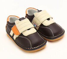 Freycoo Genuine Leather Kids Boys Squeaky Shoes Brown Szes: 5 6 7 8 9 10