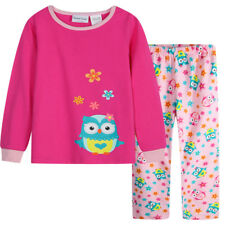 Pyjamas Girls Winter Cotton Flannel Pjs (Sz 8-14) Set Pink Owl Sz 8 10 12 14