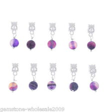 Wholesale Lots Purple Agate Onyx Dangle Beads Fit European Charm Bracelet