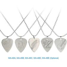 Stainless Steel Guitar Pick Silver Color Necklace Flat High Quality Durable A1R5