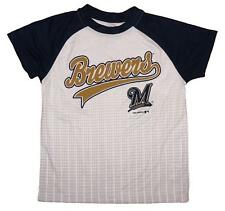 NWT Milwaukee Brewers MLB Boys 4-18 Short Sleeve Pin Dot T-Shirt