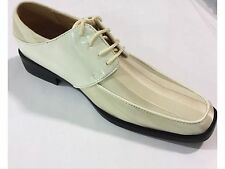Mens Dress Shoes Expressions Satin Shiny Ice/Ivory Formal Oxford New with Box
