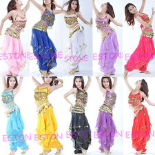 Belly Dance Costume Peppers Top Bra With Gold Wavy Harem Pants Skirt Set New