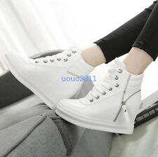 Womens Wedge Hidden Heel Lace Up Sport Shoes Fashion Leisure Sneakers Shoes Sz