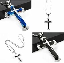 New Gift Men Black/Blue Silver Stainless Steel Cross Pendant Necklace Chain