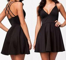 NEW WOMENS CLUBWEAR BLACK DEEP FRONT FIT AND FLARE MINI SEXY DRESS--M,L 9105