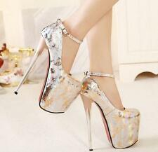 New Sexy Womens Ankle Strappy High Heel Platform Pumps Fashion Party Dress Shoes