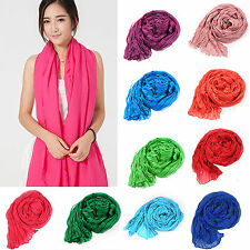 New Women Girls Candy Colour Crinkle Long Soft Scarf Wrap Shawl Stole Scarves P5
