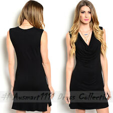 Sexy Sleeveless Little Black Dress Cowl Neck Slim Office Casual Party Club Wear