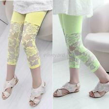 2-7Y Baby Kids Girl Lace Floral Trousers Casual Cropped Leggings 3/4 Capri Pants