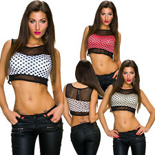 Ladies Crop Top Shirt Polka Dots Mesh cropped padded 34 36 Party Club sexy