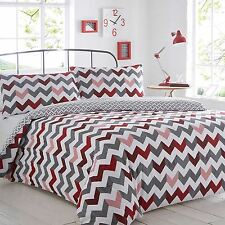 Duvet Cover Pillowcase Set Single Double King Red Chevron Bedding Quilt Bedroom