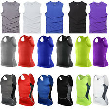 Mens Compression Base Layer Sports Under Wear Sleeveless Tank Top Vest Shirts