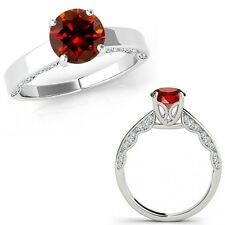 1.25 Carat Red Diamond Vintage Beautiful Solitaire Wedding Ring 14K White Gold