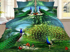 3D Peacock Eiffel Swan Tower King Queen Size Bed Sheet Quilt/Duvet Cover 4PC Set