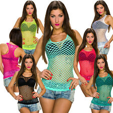 Ladies Net Tank Top mesh Shirt with Holes S 32 34 36 Party GoGo sexy