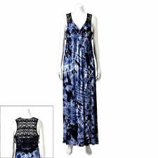 NWT BLUE AB STUDIO LACE BACK EMPIRE WAIST LONG MAXI DRESS SIZE SMALL  MSRP $ 64