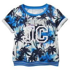 NWT GIRLS Juicy Couture JC Roll-Cuff Short-Sleeved Blue Palm Tree Tops Shirt $36
