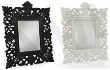 LARGE 4ft x 3ft WALL MIRROR BIG HANGING ORNATE BEDROOM SHABBY CHIC WHITE BLACK