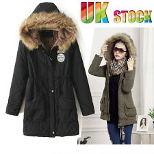 Ladies Winter Coat Jacket Cotton Padded Fur Collar Warm Long Hooded Outwear