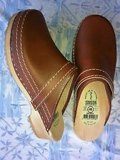 Dutch Leather Wooden Clog Shoe  Antique Brown (open) HUGE WINTER SALE  Free Gift