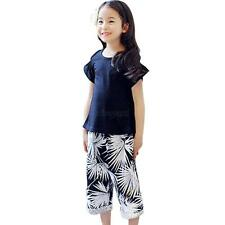 2PCS Baby Girls Kid Short Sleeve T-shirt Tops+Cropped Trousers Pants Casual Wear