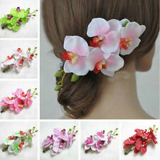 Bridal Wedding Party Orchid Flower Hair Clip Barrette Women Girl Lady Hair Decor