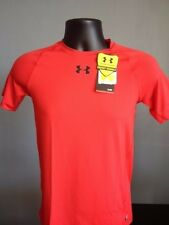 NWT Under Armour Boys Short Sleeve Solid Color Heat Gear UPF 30+ Fitted Shirt