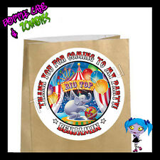 Circus Birthday Party Favor Goody Bag STICKERS - Personalized Loot Bag Labels